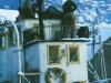 Endelig i Sandviken 1986. Nå begynte et omstendelig restaureringsarbeid. Det første var styrhus og bysse fra ca 1958/59, som ble revet.
