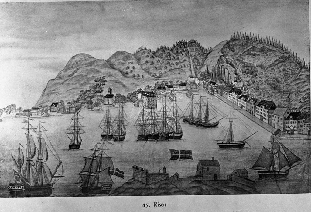 Tegning av Risør, S. Worm-Pedersen - Norsk teknisk museum